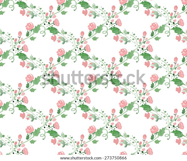 Seamless Pattern Watercolor Flowers Illustrator Swatch Stock