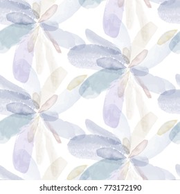 Seamless pattern of watercolor hand painting flowers. Vector illustration created with custom brushes, not auto-tracing