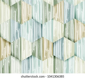 Seamless pattern, watercolor lines texture in hexagon shapes with shadow, pastel green and blue tones