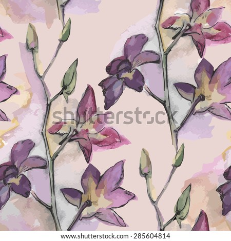 Seamless pattern with watercolor orchid.