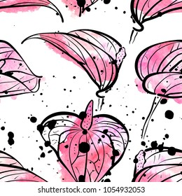 Seamless pattern with watercolor pink Calla Lily flowers on white background