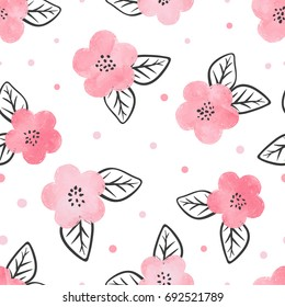 Seamless pattern with watercolor pink flowers and black leaves.