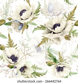 Seamless pattern of watercolor poppies. Vector illustration of white flowers. Vintage. Can be used for gift wrapping paper, background of Valentine's day, birthday and so on.