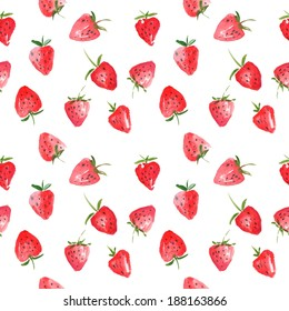 Seamless pattern of watercolor strawberries - vector illustration