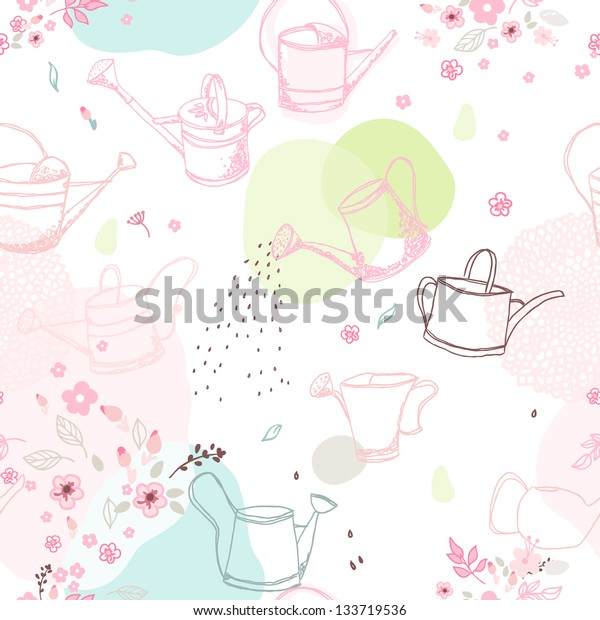 seamless pattern with watering cans