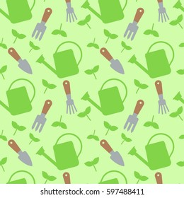 Seamless pattern with watering cans and tools for work in garden. Vector illustration.