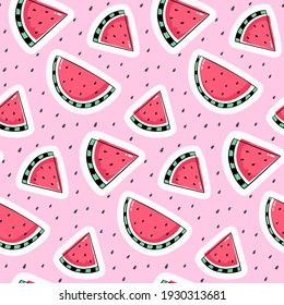 Seamless pattern with watermelon drawing on pink background.