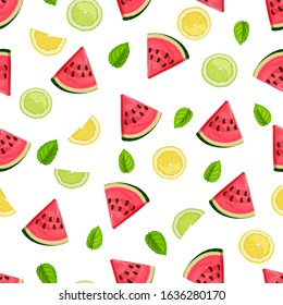 Seamless pattern with watermelon slices, lime, mint and lemon. Vector illustration. Summer refreshing fruit background.