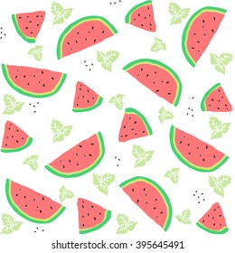 Seamless pattern with watermelon slices and mint leaves. Vector illustration.