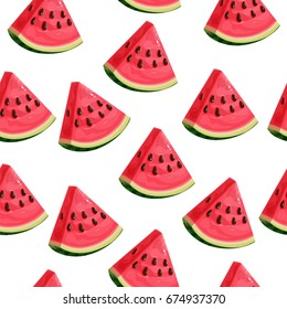 Seamless pattern with watermelon slices. Vector illustration. Summer watermelon background.