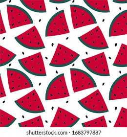 Seamless pattern with watermelon - summer fruit. Tropical print with sweet food.