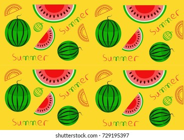 Seamless pattern with watermelons on yellow background. Vector illustration. Perfect for textile, web-design and scrap booking
