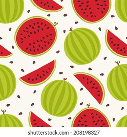 Seamless pattern with watermelons. Perfect for wallpapers, pattern fills, web page backgrounds, surface textures, textile.