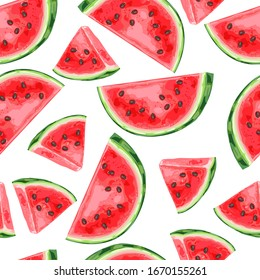 Seamless pattern with watermelons slices. Summer fruit decorative illustration.