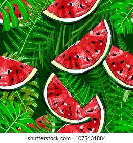 Seamless pattern with watermelons and tropical plants