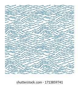 Seamless pattern of wave with a broken line and zig zag line. Design for backdrops with sea, rivers or water texture