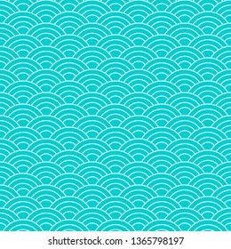 Seamless pattern. Wave. Fish scales texture. Vector illustration. Scrapbook, gift wrapping paper, textiles. Blue simple background