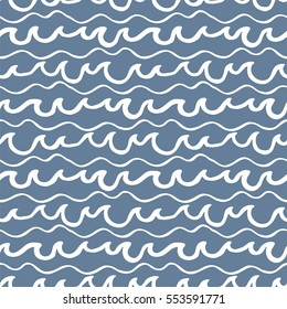 Seamless pattern with waves. Design for backdrops with sea, rivers or water texture. Hand drawn style. Figure for textiles. Decorative elements for invitation and postcard design.