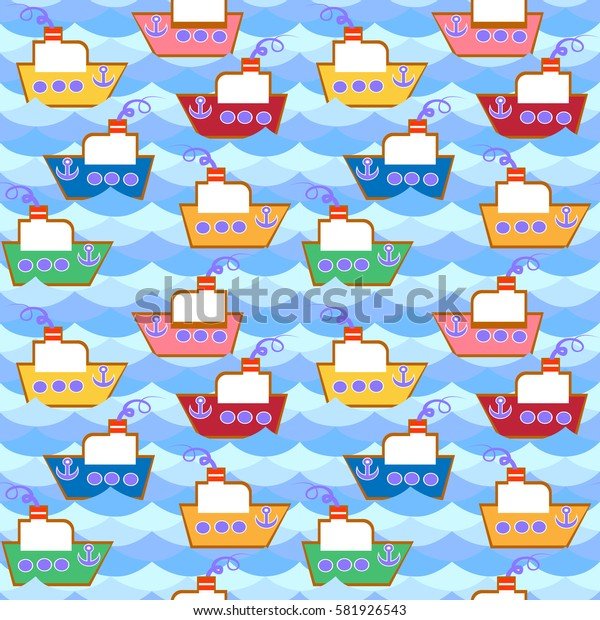 Seamless pattern of waves, flow of water ,colored boats. For Wallpaper and fabrics. Vector illustration.