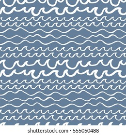 Seamless pattern with waves on blue background. Design for backdrops with sea, rivers or water texture. Hand drawn style. Figure for textiles. Decorative elements for invitation and postcard design.