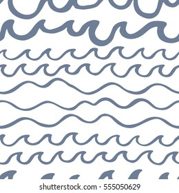 Seamless pattern with waves on white background. Design for backdrops with sea, rivers or water texture. Hand drawn style. Figure for textiles. Decorative elements for invitation and postcard design.