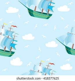 Seamless pattern with waves and ships, sailing boats. Vector Illustration