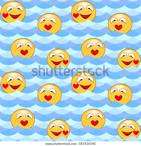 Seamless pattern of waves, water ,hilarious emoticons. For Wallpaper and fabrics. Vector illustration.