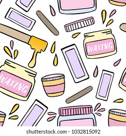 Seamless pattern with waxing and hair removal illustration. Hand drawn design elements.