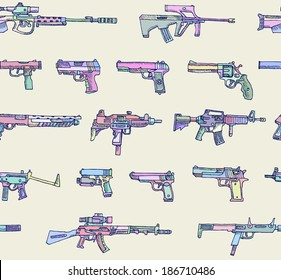 Seamless pattern with weapons in vector.