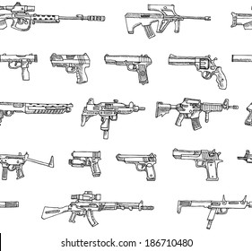Seamless pattern with weapons in vector  on a white background.