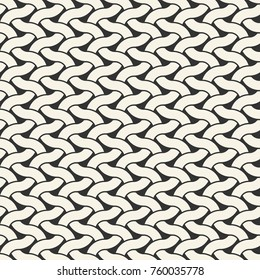 Seamless pattern with weave ornament. Textile structure grid. Vector abstract modern background.