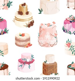 Seamless pattern with wedding or birthday cakes decorated with flowers, berries, fuits, leaves and fir cones. Repeatable ornate desserts on white background for printing. Colored vector illustration