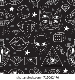 Seamless pattern with weird and freaky alchemy symbols. Lovely vector illustration and design for fabrics, textile, wallpaper and background.