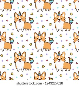 Seamless pattern with welsh corgi in a unicorn costume with horn and colorful tail. Excellent print for children's clothes, bed linens, phone case, mug, wrapping paper, textile etc.