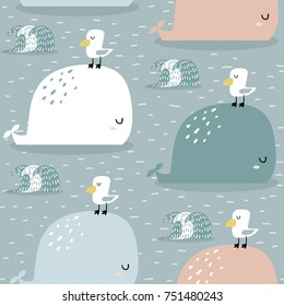 Seamless pattern with whale and gull. Childish texture for fabric, textile,apparel. Vector background