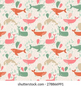 Seamless pattern of whales.