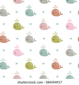 Seamless pattern with whales. Vector abstract colorful fish seamless pattern, whales and hearts.