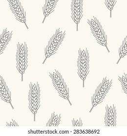 Seamless pattern with wheat. Contour drawing vector illustration. Perfect for wallpapers, wrapping papers, bakery menu, web page background, textile