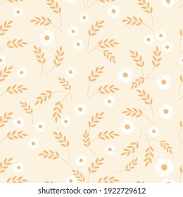Seamless pattern with wheat plant and little daisy flower on yellow background vector illustration. Beautiful nature wallpaper.