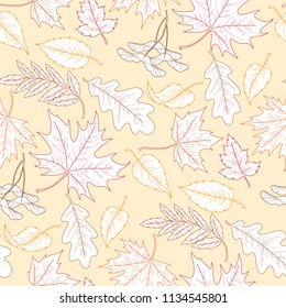 Seamless pattern of white autumn leaves with color outlines on yellow background. Pattern for textile, design and decoration