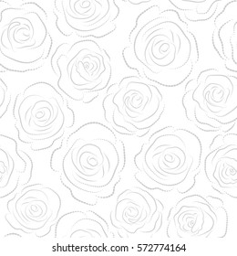 Seamless pattern with white background and abstract gray stylized roses silhouette. Vector illustration.