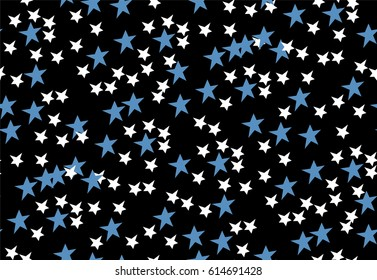 Seamless pattern with white and blue stars on black background. Vector illustration.