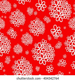 Seamless pattern. White bouquet of red background. For printing on packaging, bags, cups, laptop, furniture, etc. Vector.