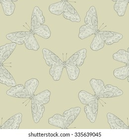 Seamless pattern with white butterfly