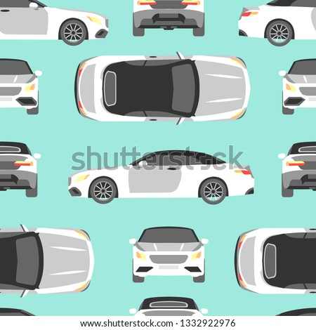 Seamless Pattern White Car