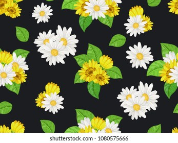 Seamless  pattern with white chamomiles  on dark background. Vector floral illustration for textile, print, wallpapers, wrapping.