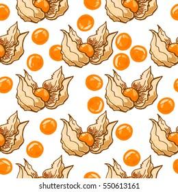 Seamless pattern of white cherry on white background, vector illustration