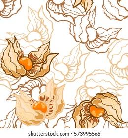 Seamless pattern of white cherry, vector illustration