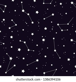 Seamless pattern with white constellations and  stars on black background. Vector illustration. Night sky, universe, space. Galaxy  background.  Cosmos texture for paper, wrapping and fabric.