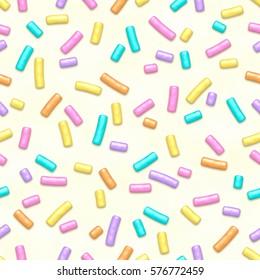 Seamless pattern of white donut glaze with many decorative sprinkles.